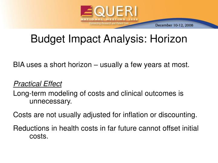 Budget Impact Analysis: Horizon