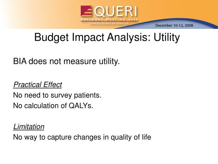 Budget Impact Analysis: Utility