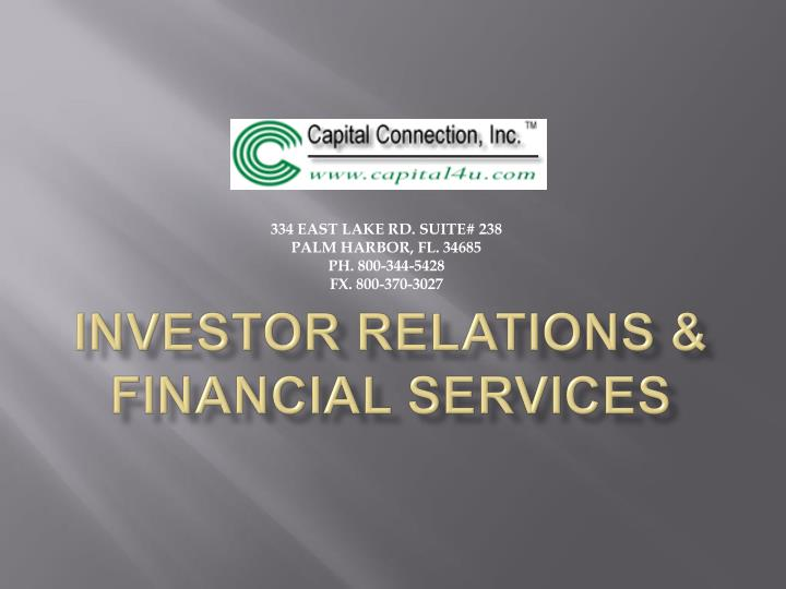 Investor relations financial services