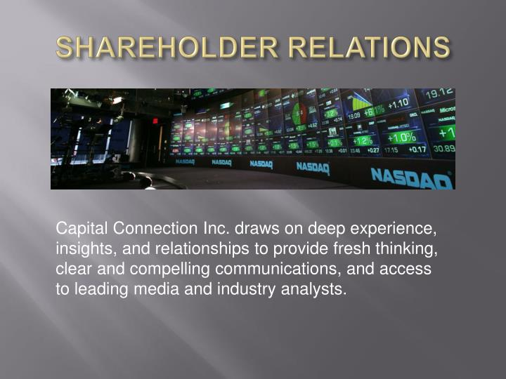 Shareholder relations