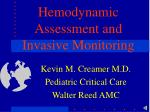 hemodynamic assessment and invasive monitoring