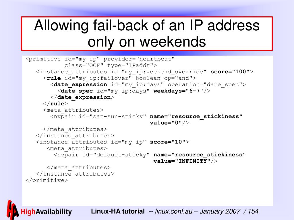Allowing fail-back of an IP address only on weekends