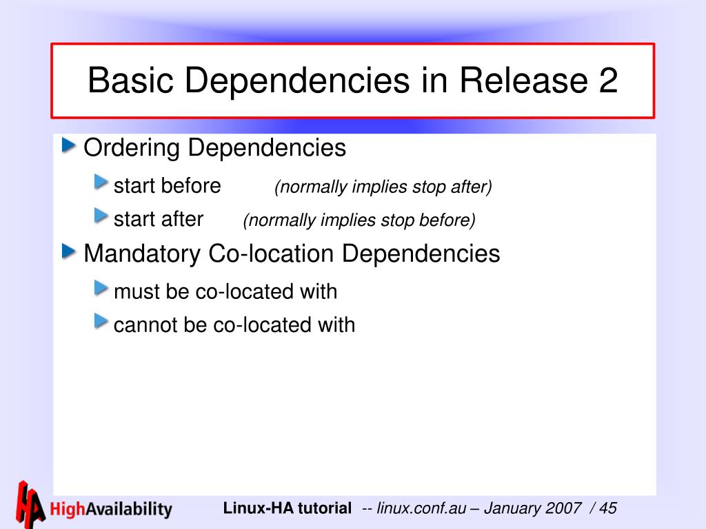 Basic Dependencies in Release 2