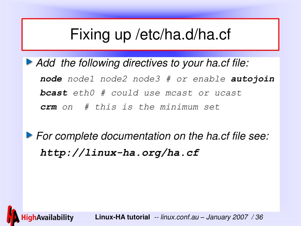 Fixing up /etc/ha.d/ha.cf