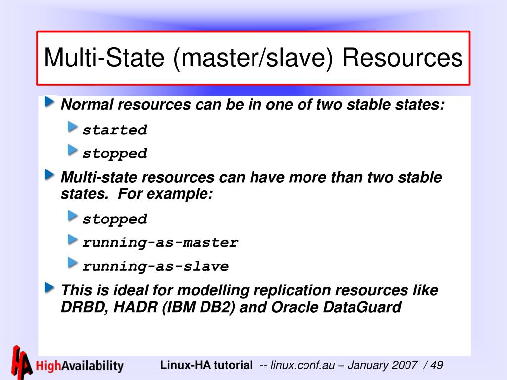 Multi-State (master/slave) Resources
