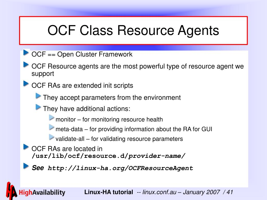 OCF Class Resource Agents