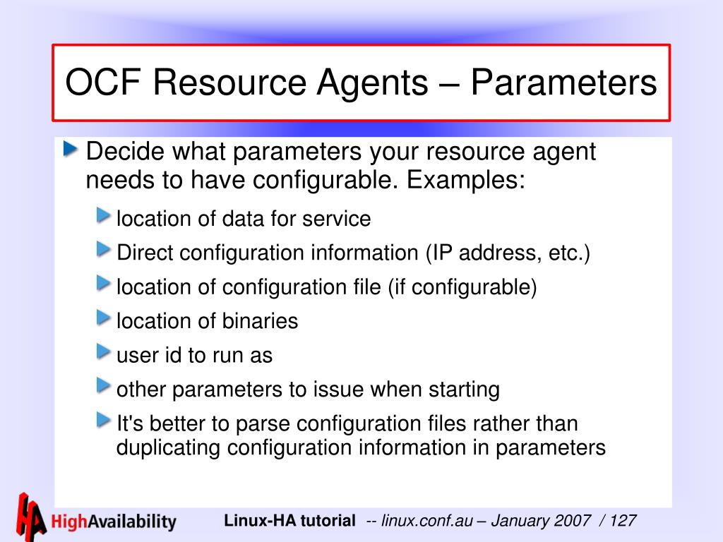 OCF Resource Agents – Parameters