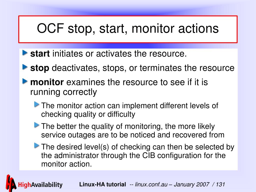 OCF stop, start, monitor actions