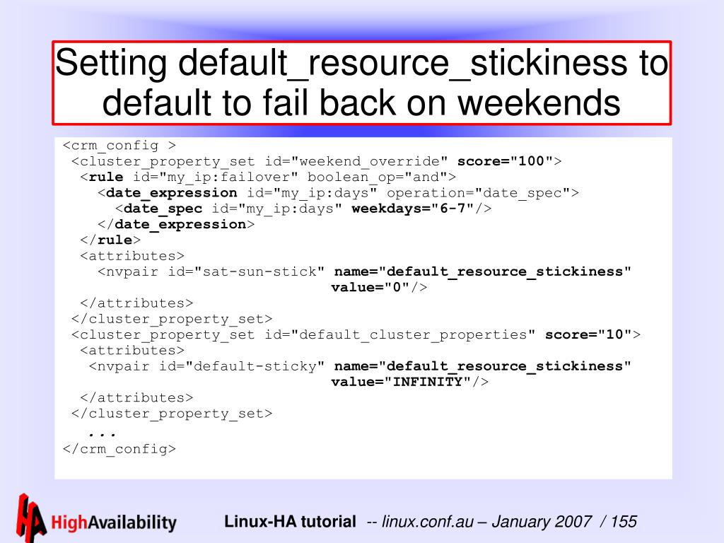 Setting default_resource_stickiness to default to fail back on weekends