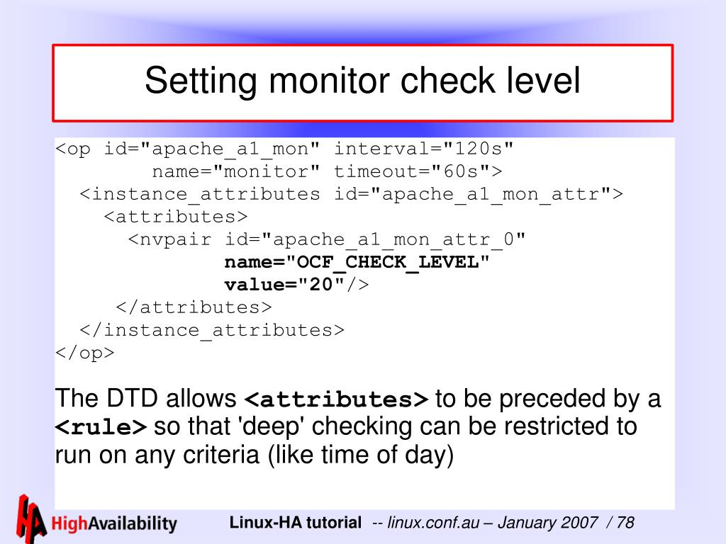 Setting monitor check level