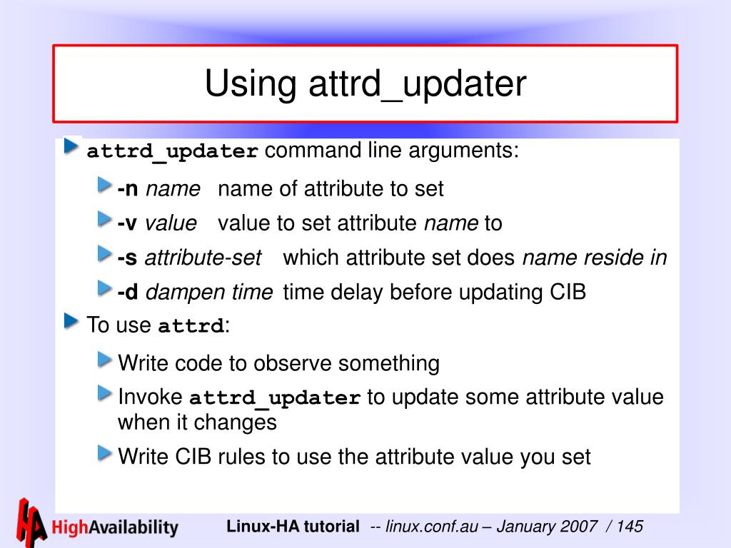 Using attrd_updater