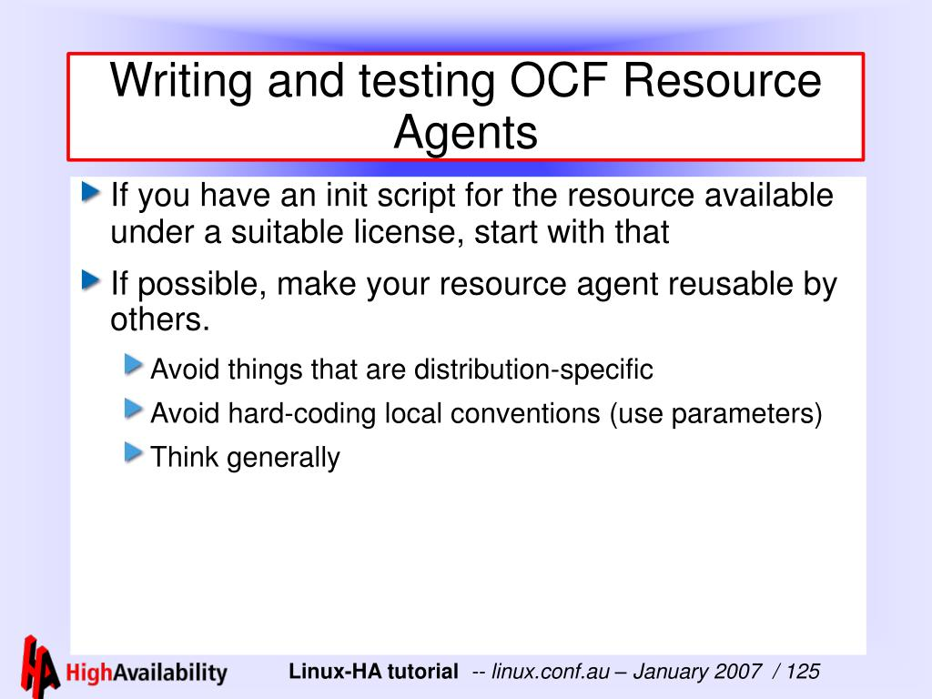 Writing and testing OCF Resource Agents