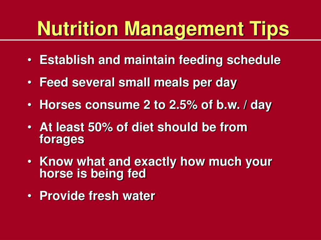 Nutrition Management Tips