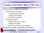 cluster information base cib intro