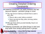 creating detailed ordering constraints