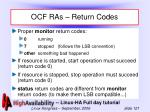 ocf ras return codes
