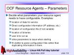 ocf resource agents parameters
