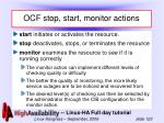 ocf stop start monitor actions