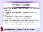 pre built packages