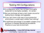 testing ha configurations