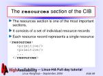 the resources section of the cib