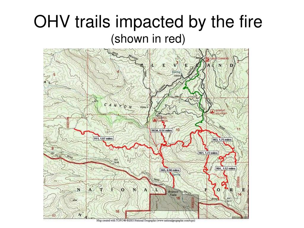 OHV trails impacted by the fire