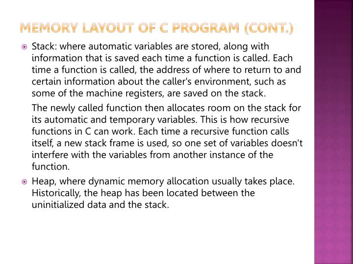 Memory Layout of C Program (cont.)