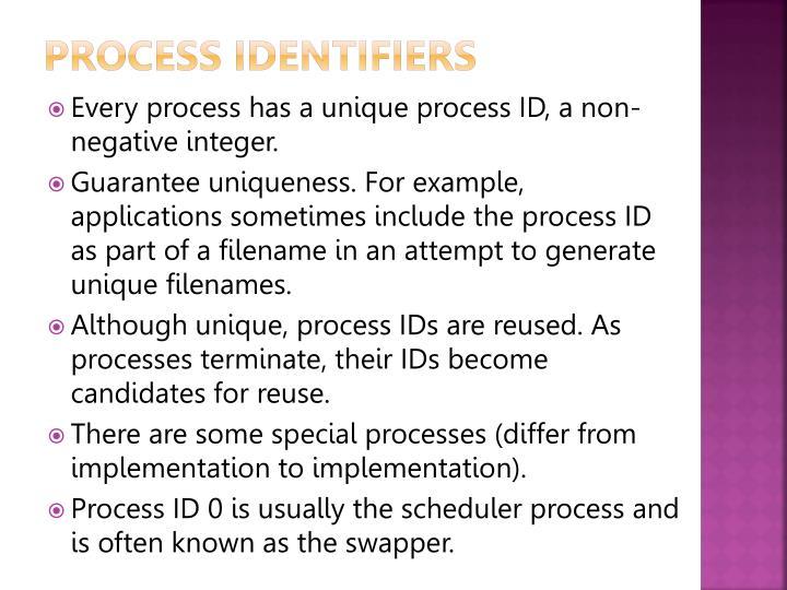 Process identifiers