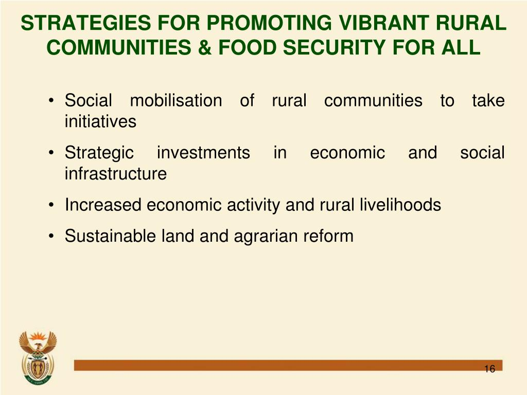 STRATEGIES FOR PROMOTING VIBRANT RURAL COMMUNITIES & FOOD SECURITY FOR ALL
