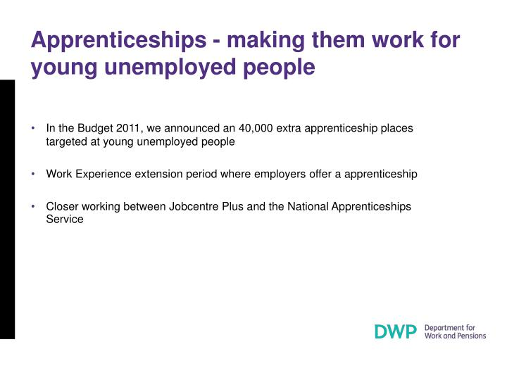Apprenticeships - making them work for young unemployed people