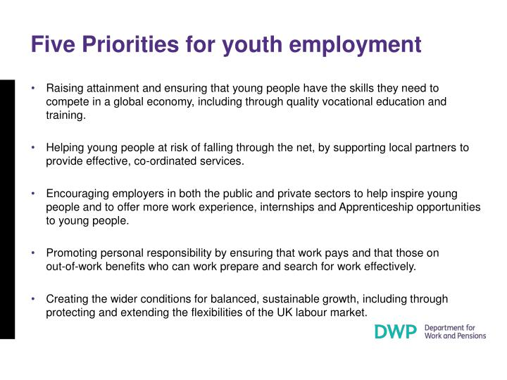 Five Priorities for youth employment