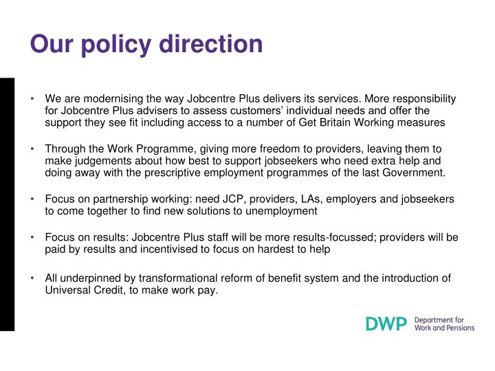 Our policy direction
