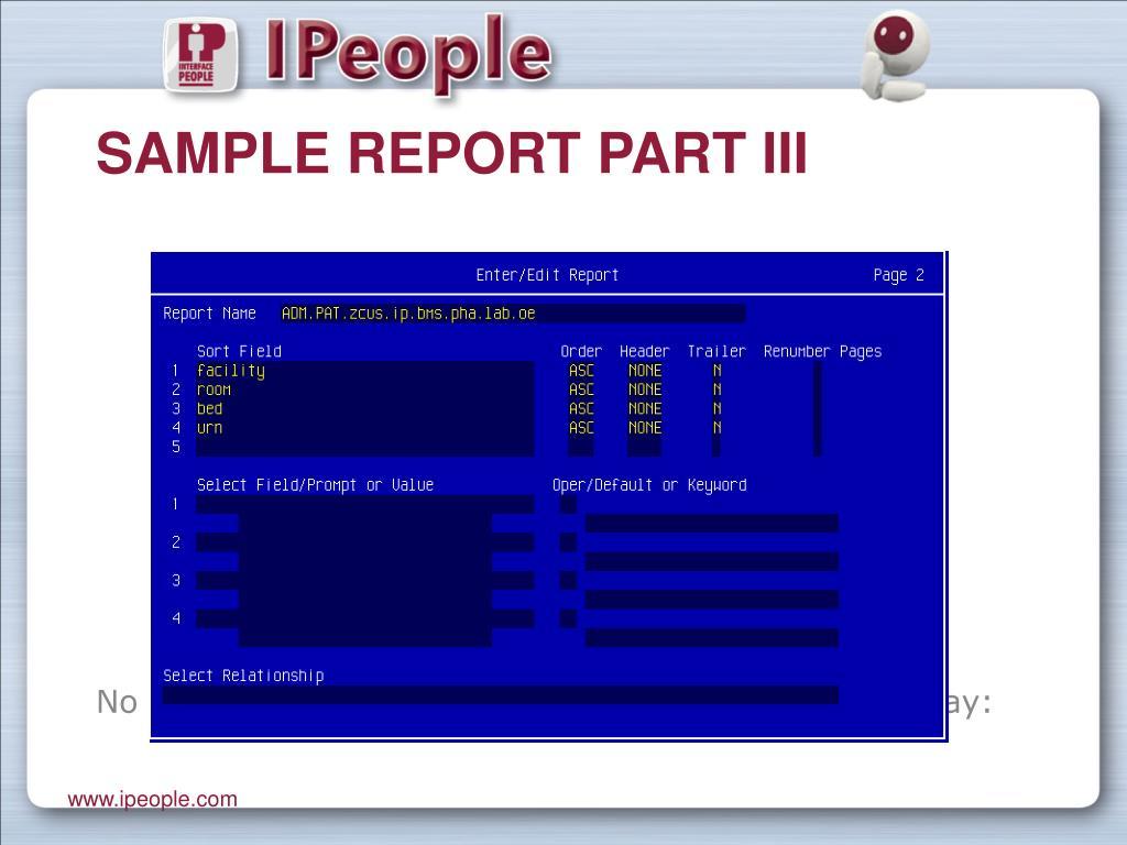 Sample Report Part III