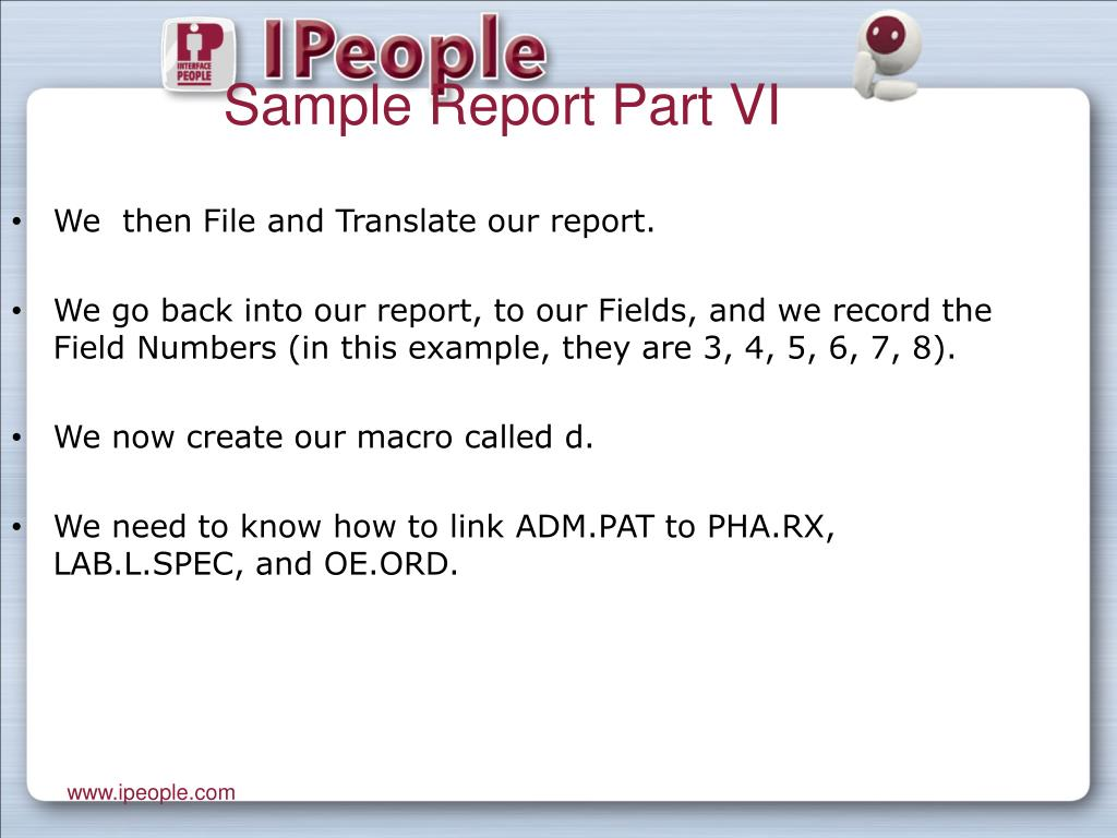 Sample Report Part VI