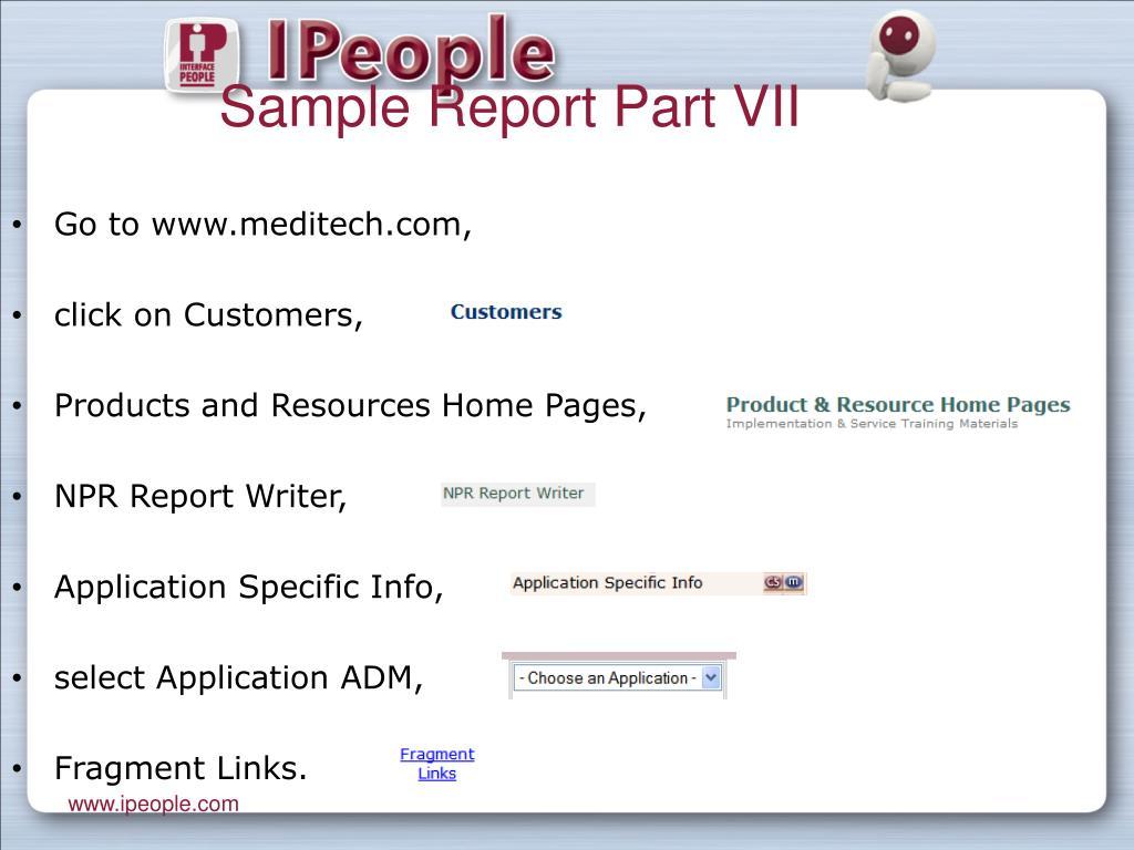 Sample Report Part VII