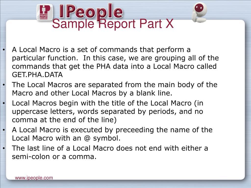 Sample Report Part X