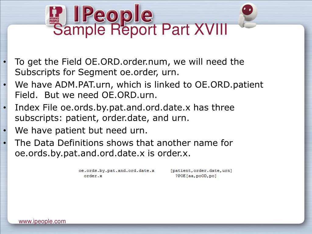 Sample Report Part XVIII