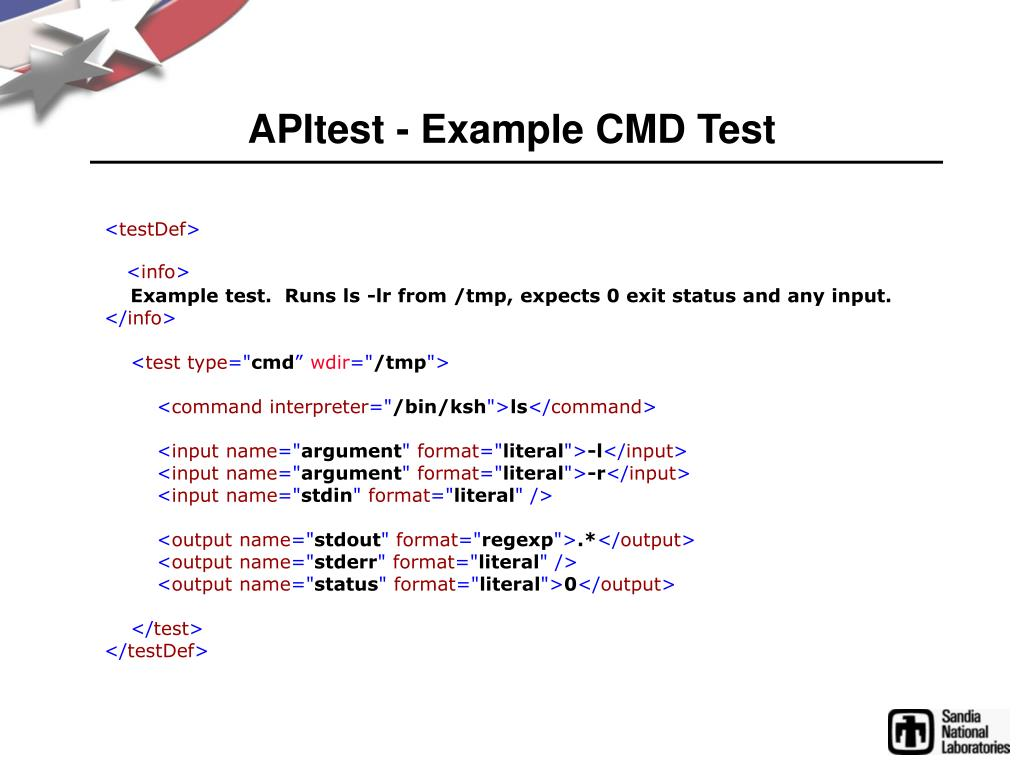 APItest - Example CMD Test