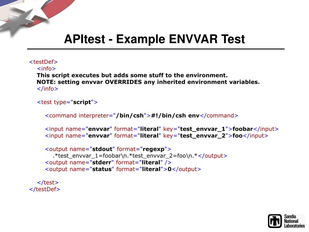 APItest - Example ENVVAR Test