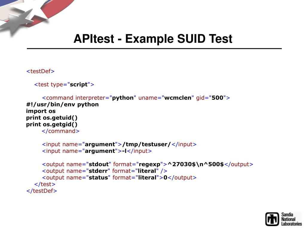 APItest - Example SUID Test