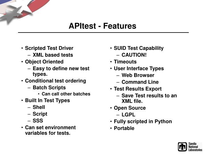 Apitest features