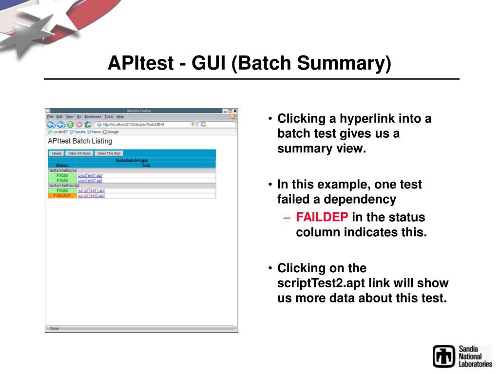 APItest - GUI (Batch Summary)
