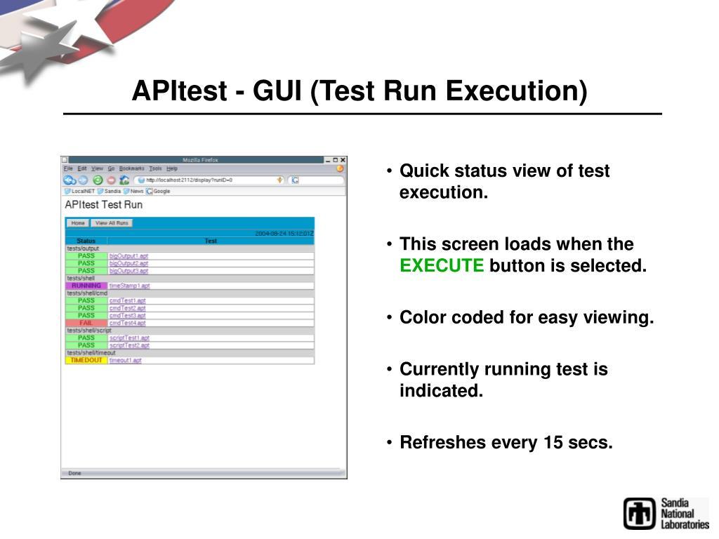 APItest - GUI (Test Run Execution)