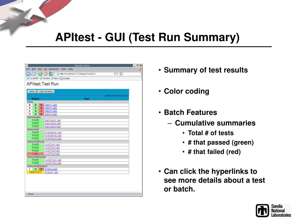 APItest - GUI (Test Run Summary)