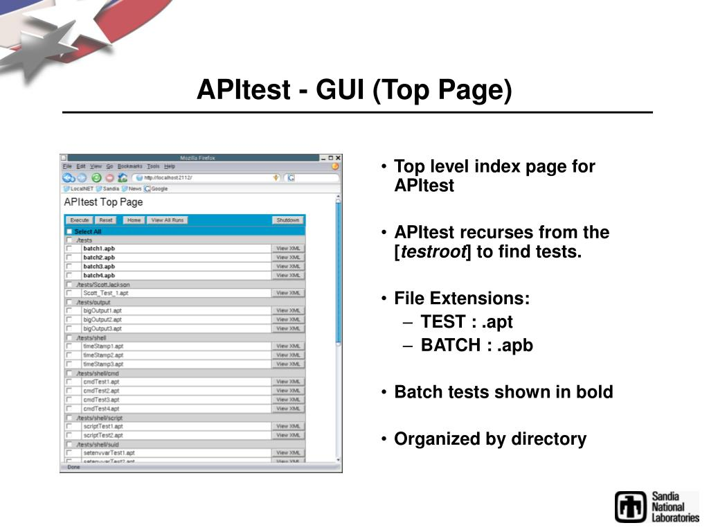 APItest - GUI (Top Page)