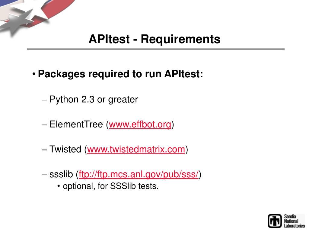APItest - Requirements