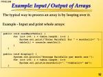 example input output of arrays
