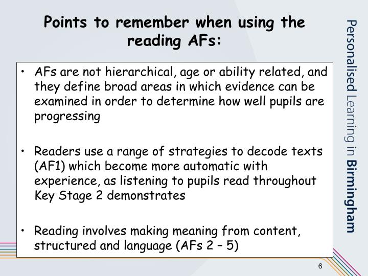 Points to remember when using the reading AFs: