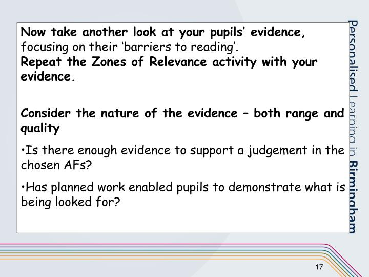 Now take another look at your pupils' evidence,