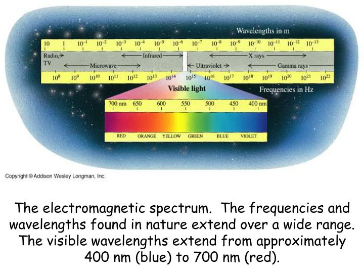 The electromagnetic spectrum.  The frequencies and wavelengths found in nature extend over a wide range.  The visible wavelengths extend from approximately